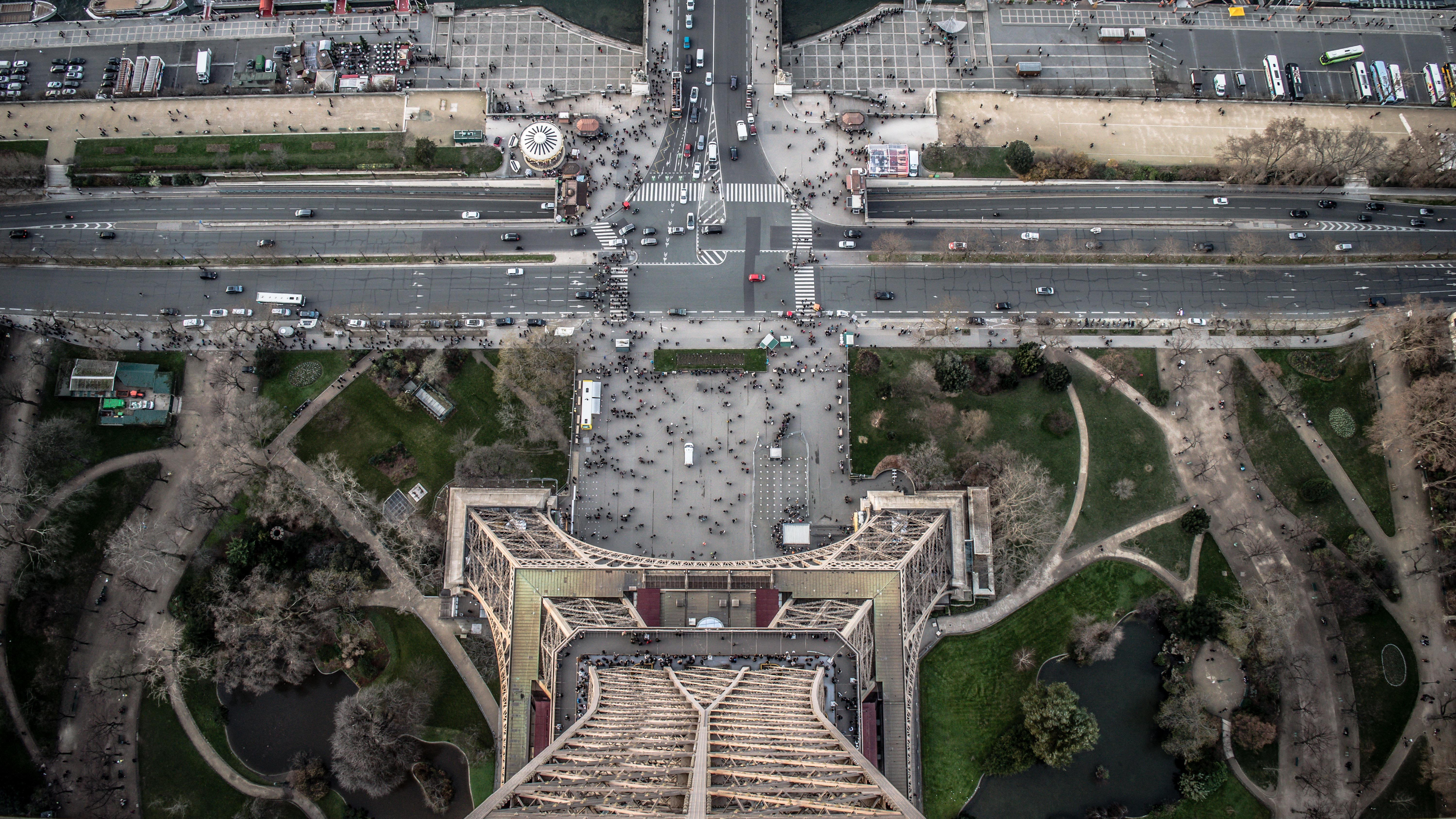 High angle shot taken from the top of the Eiffel Tower