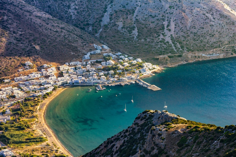 town beside sea on the foot of the mountain