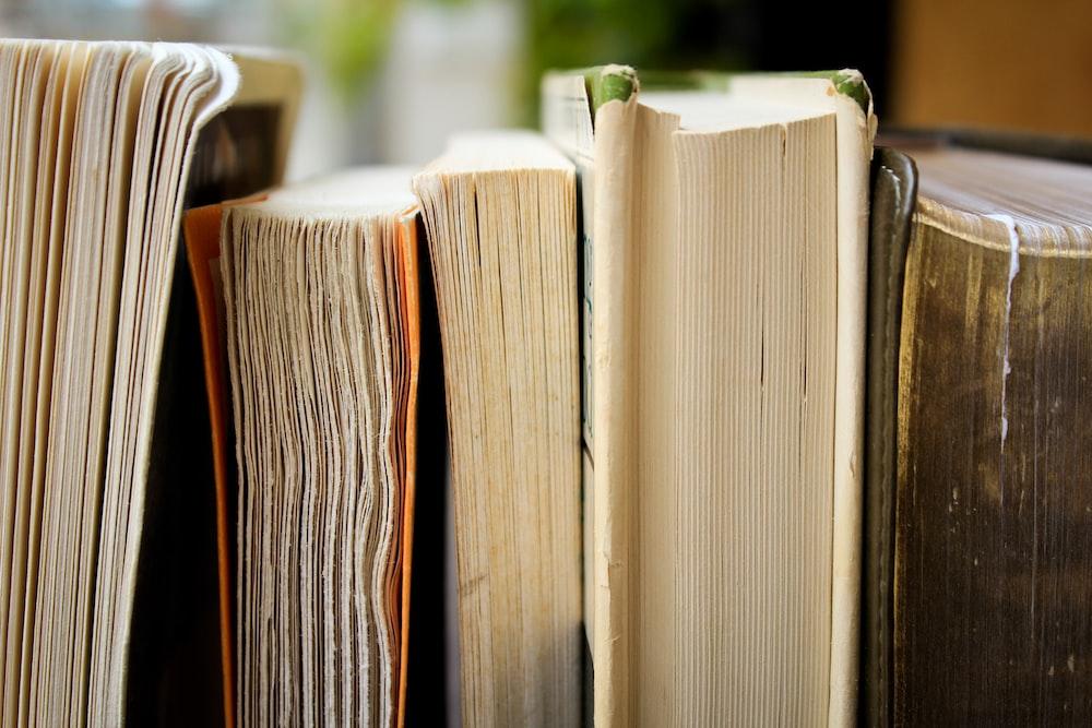 macro photo of five assorted books