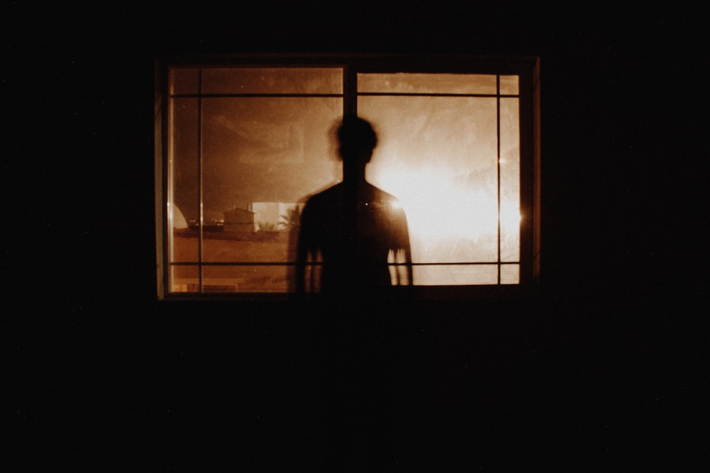 silhouette photography of person in front of window