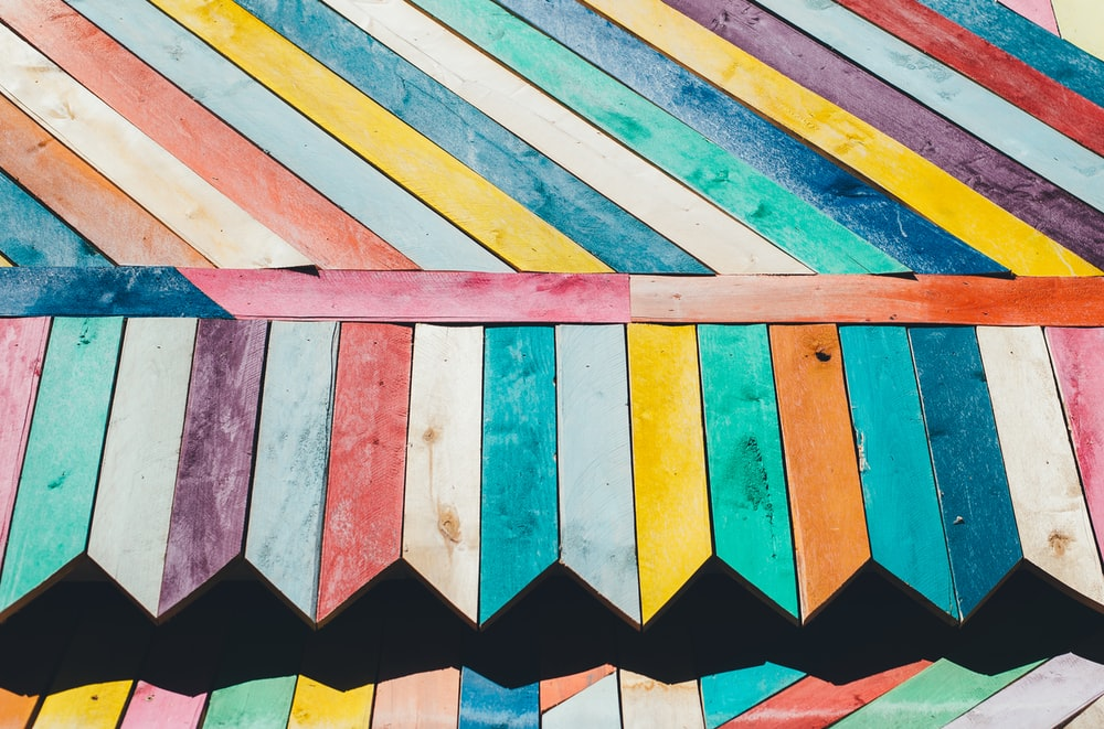 Colorful pieces of wood.