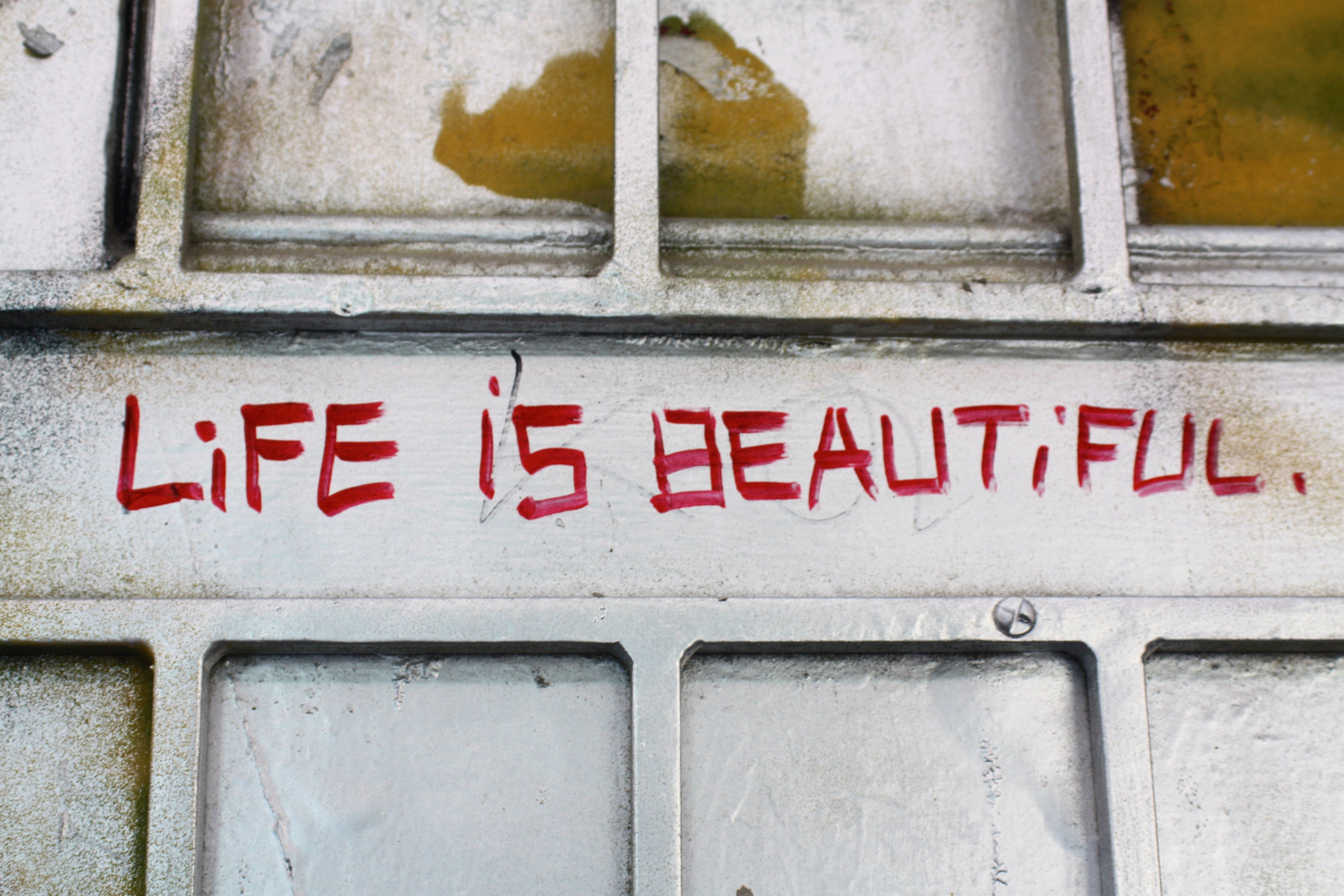 "Red writing on a wall that says ""Life is beautiful."""