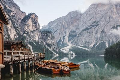 Boathouse on a mountain lake