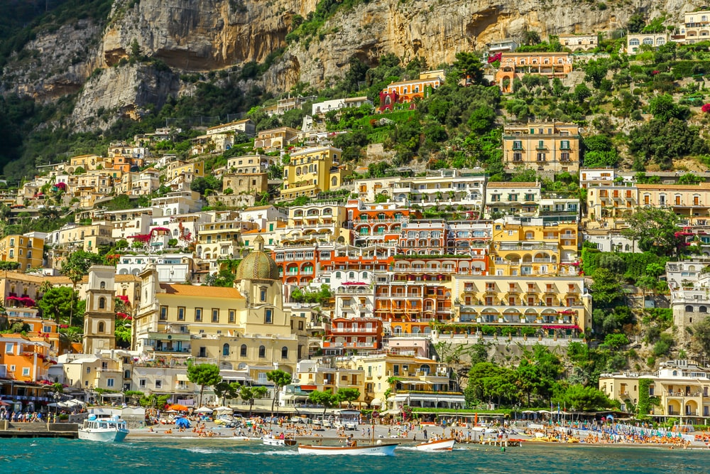 landscape photography of village on cliff