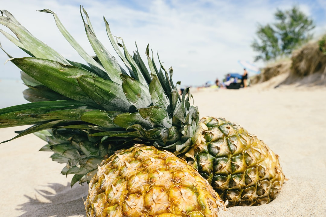 golden pineapples in sand at the beach