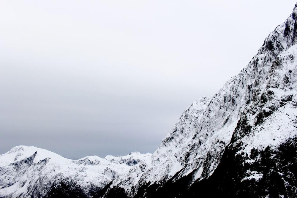 white snow-covered mountain