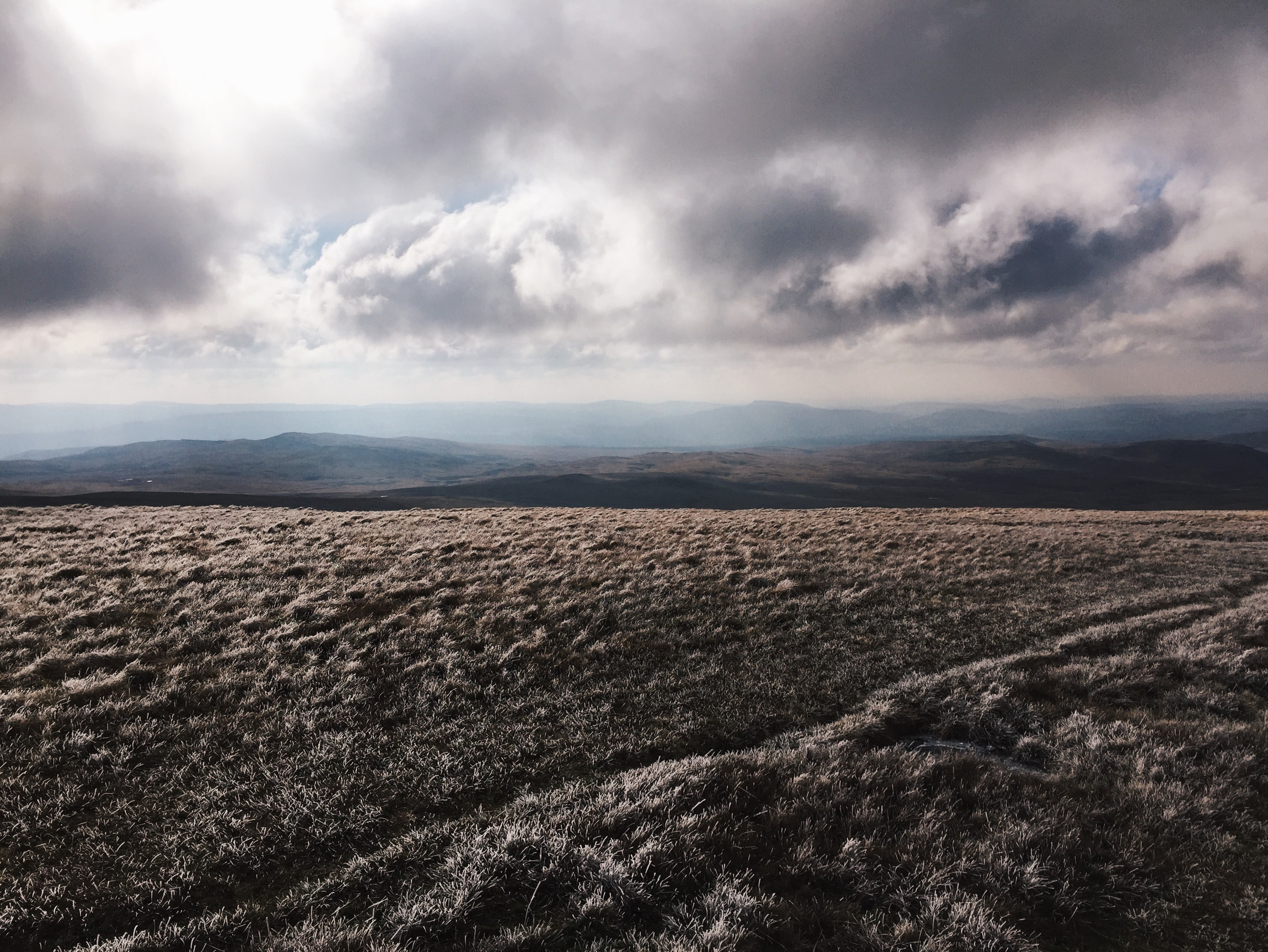 A moody rural field in the Brecon Beacons