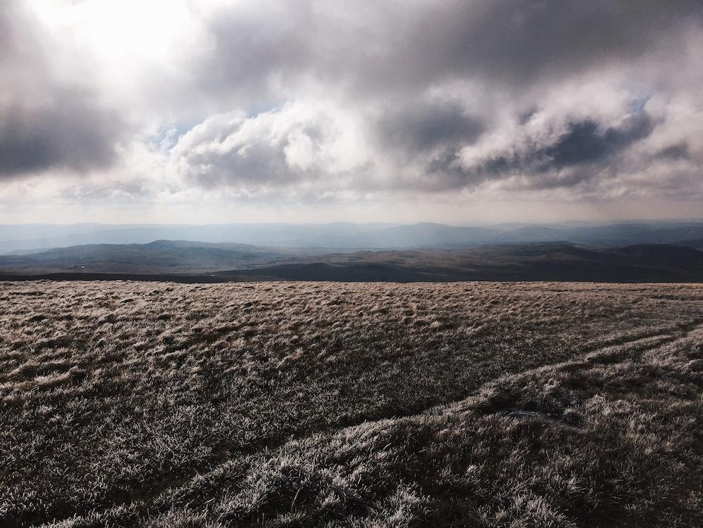 brown grass field near mountain under gray clouds