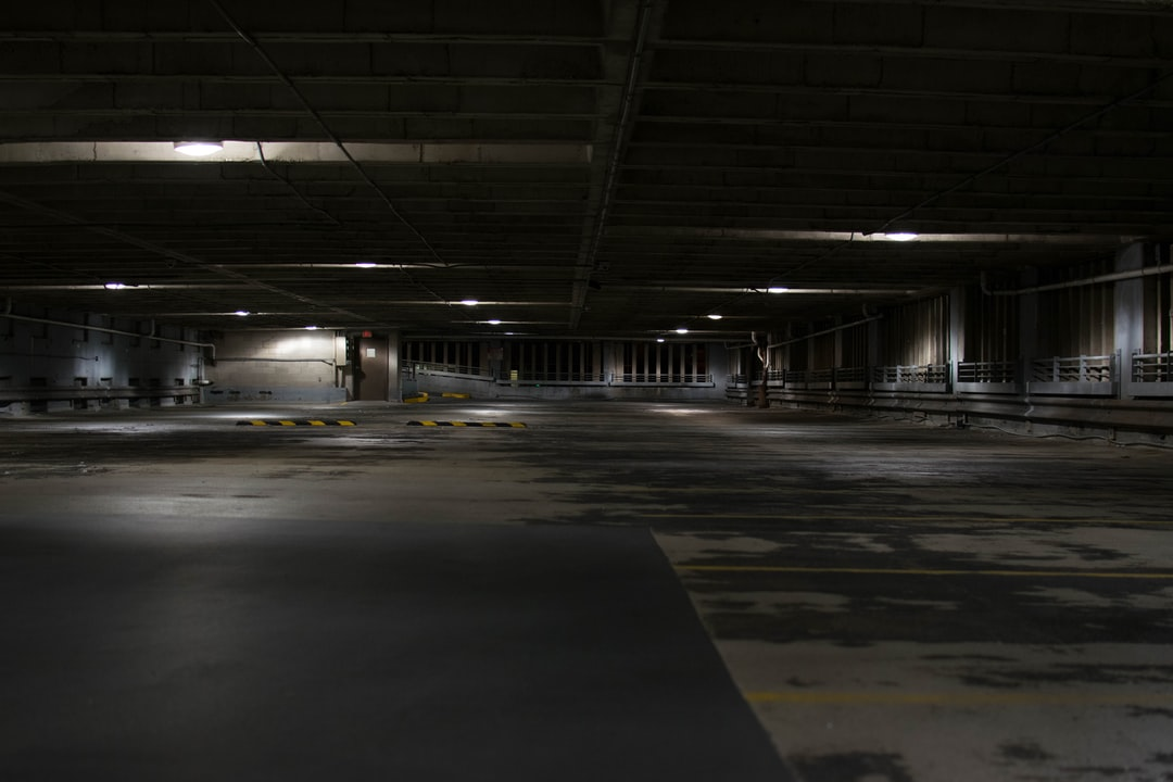 Dark empty parking space