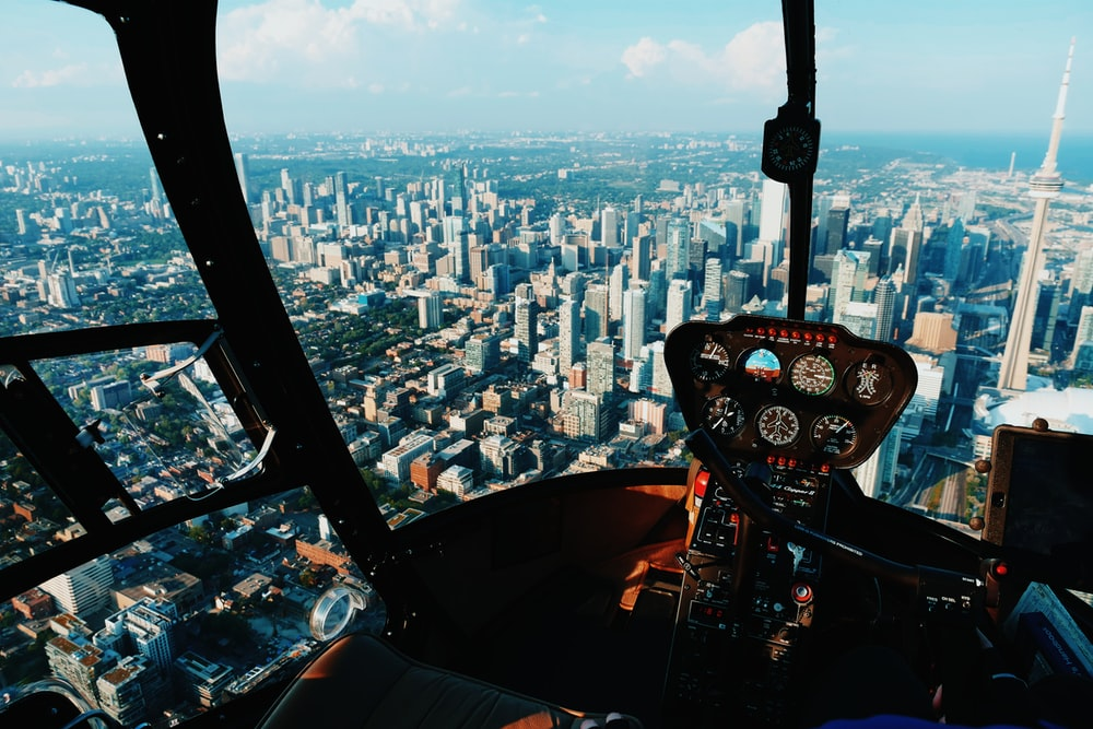 pilot taking photo of city