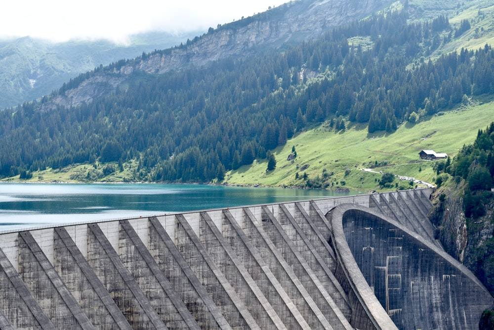 architectural photography of water dam
