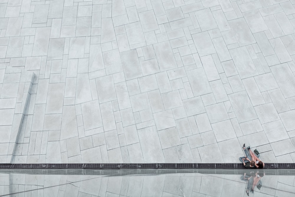 aerial photography of gray concrete flooring