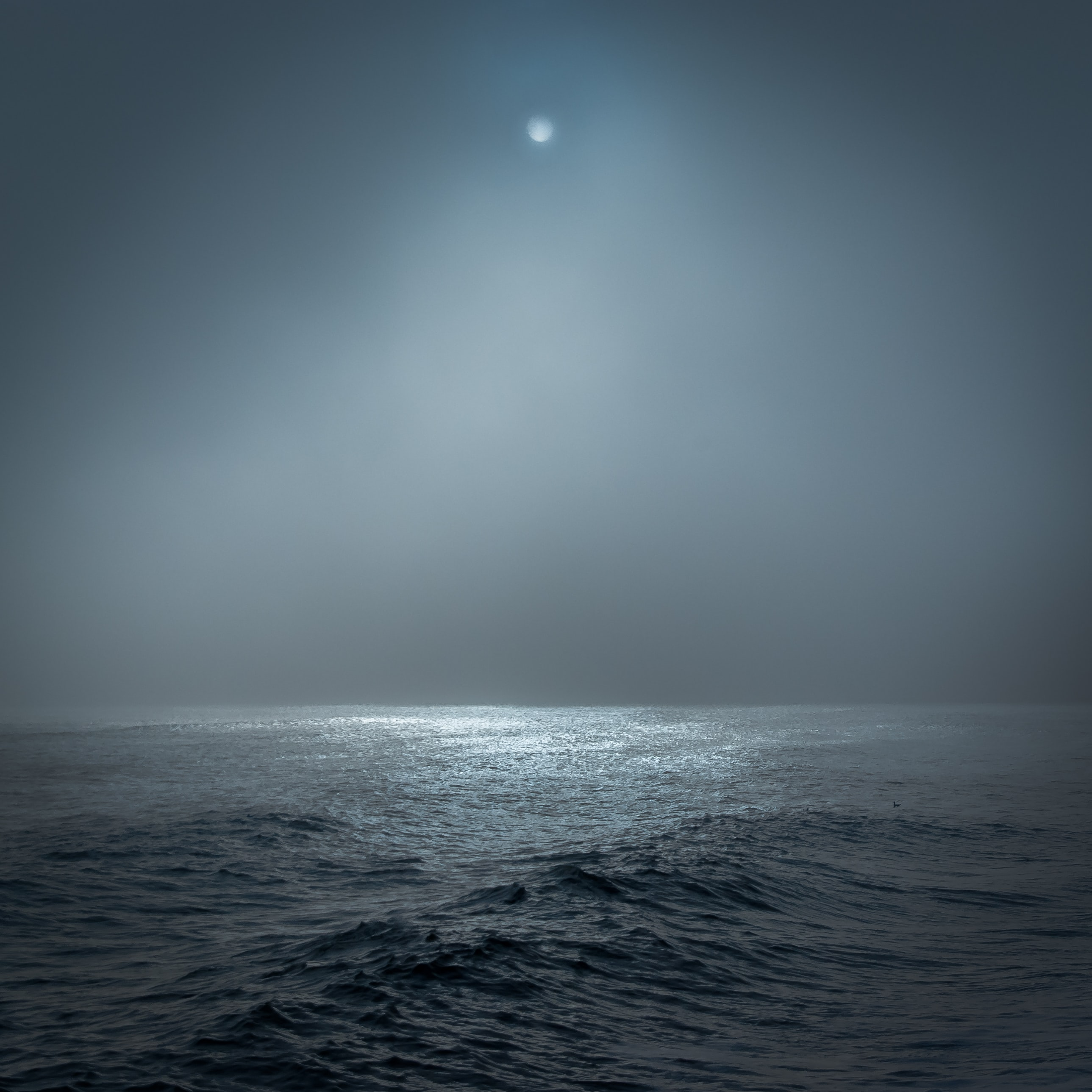 Dim moonlight in the sky over a dark sea