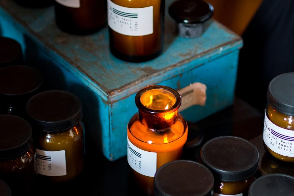 assorted glass jar lot