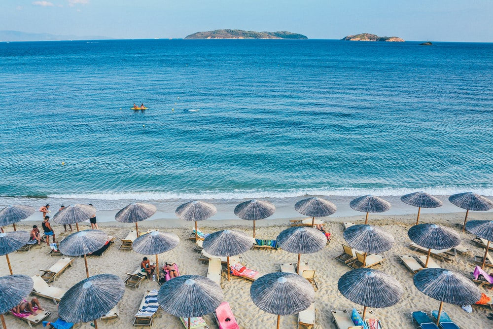 beach lounge on seashore facing the sea
