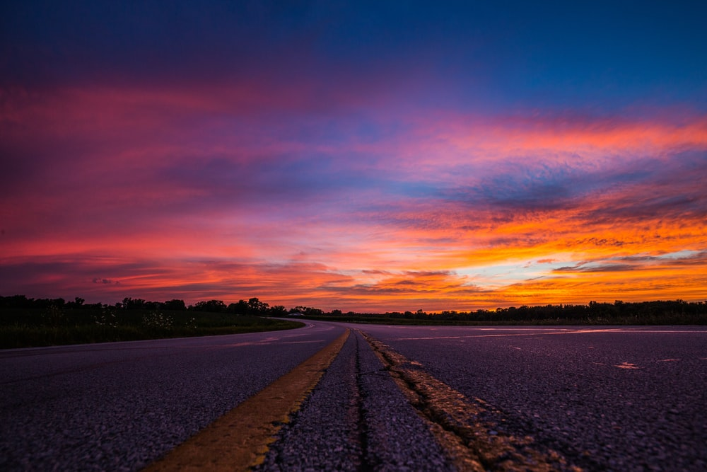 road during sunset