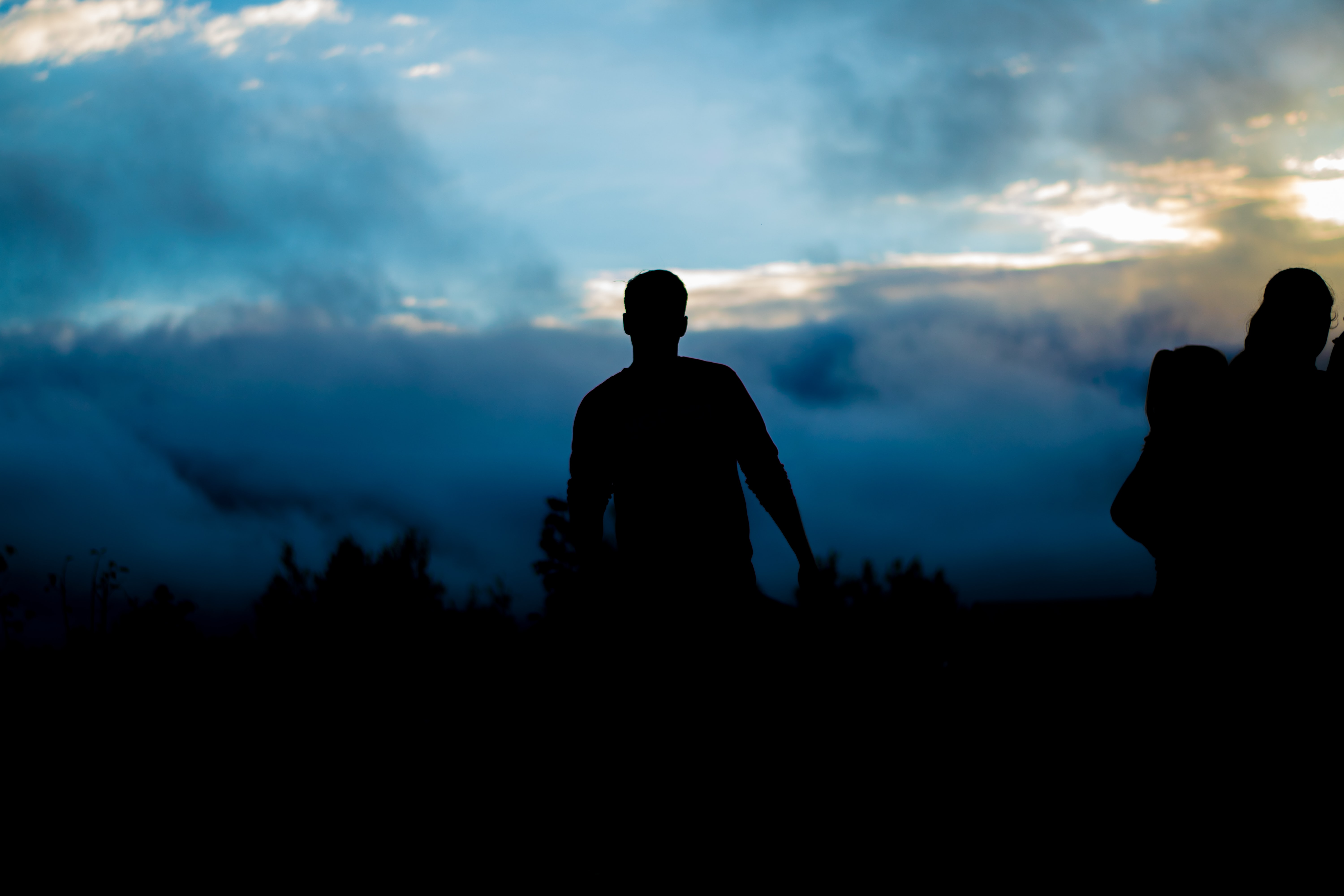 silhouette of person walking towers trees