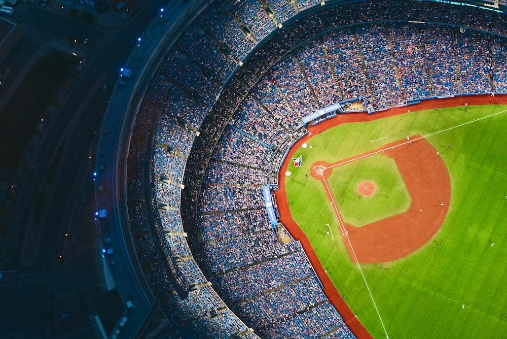 aerial photography of baseball stadium