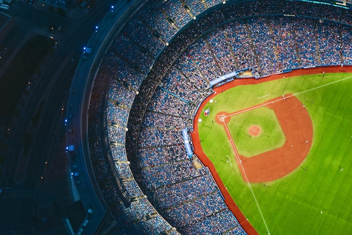 aerial photography of baseball stadium