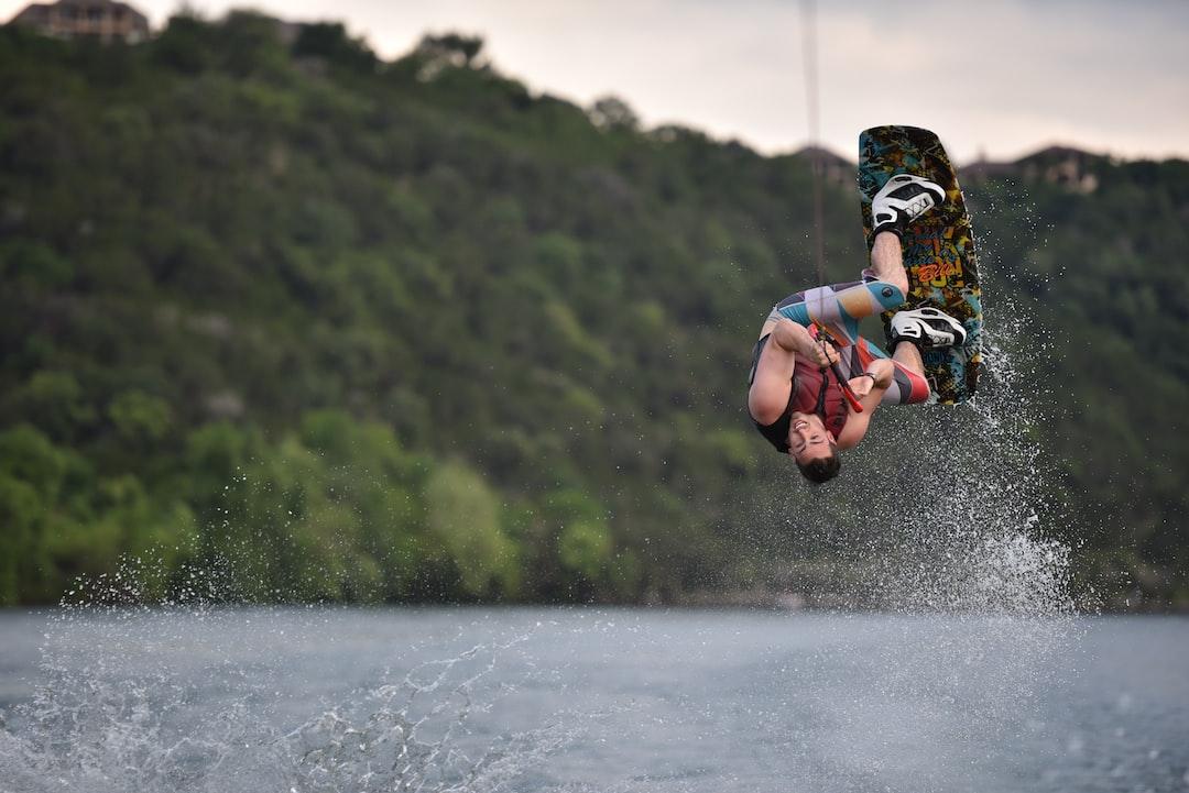 Male wakeboarder Lake Austin