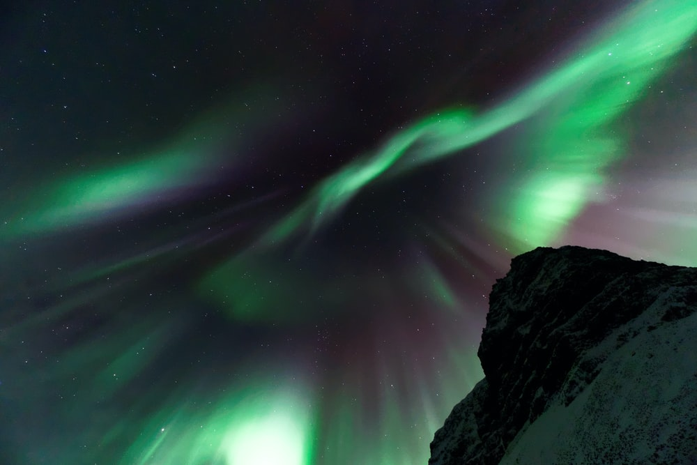 worms eye view of aurora borealis