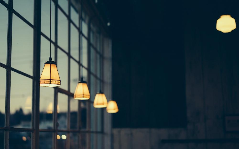 macro shot of black pendant lamps