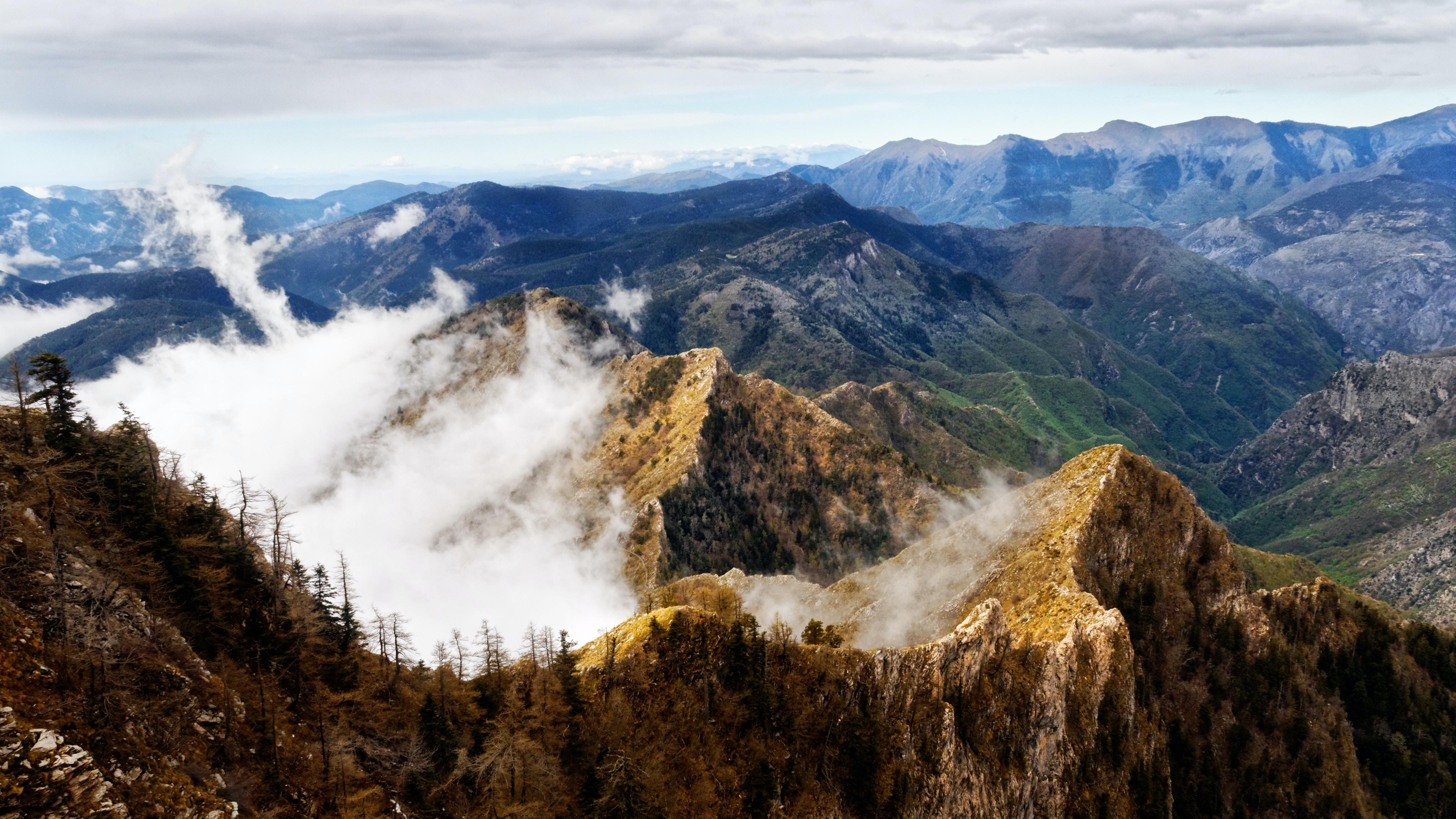 Aerial view of mountain peaks of Liguria