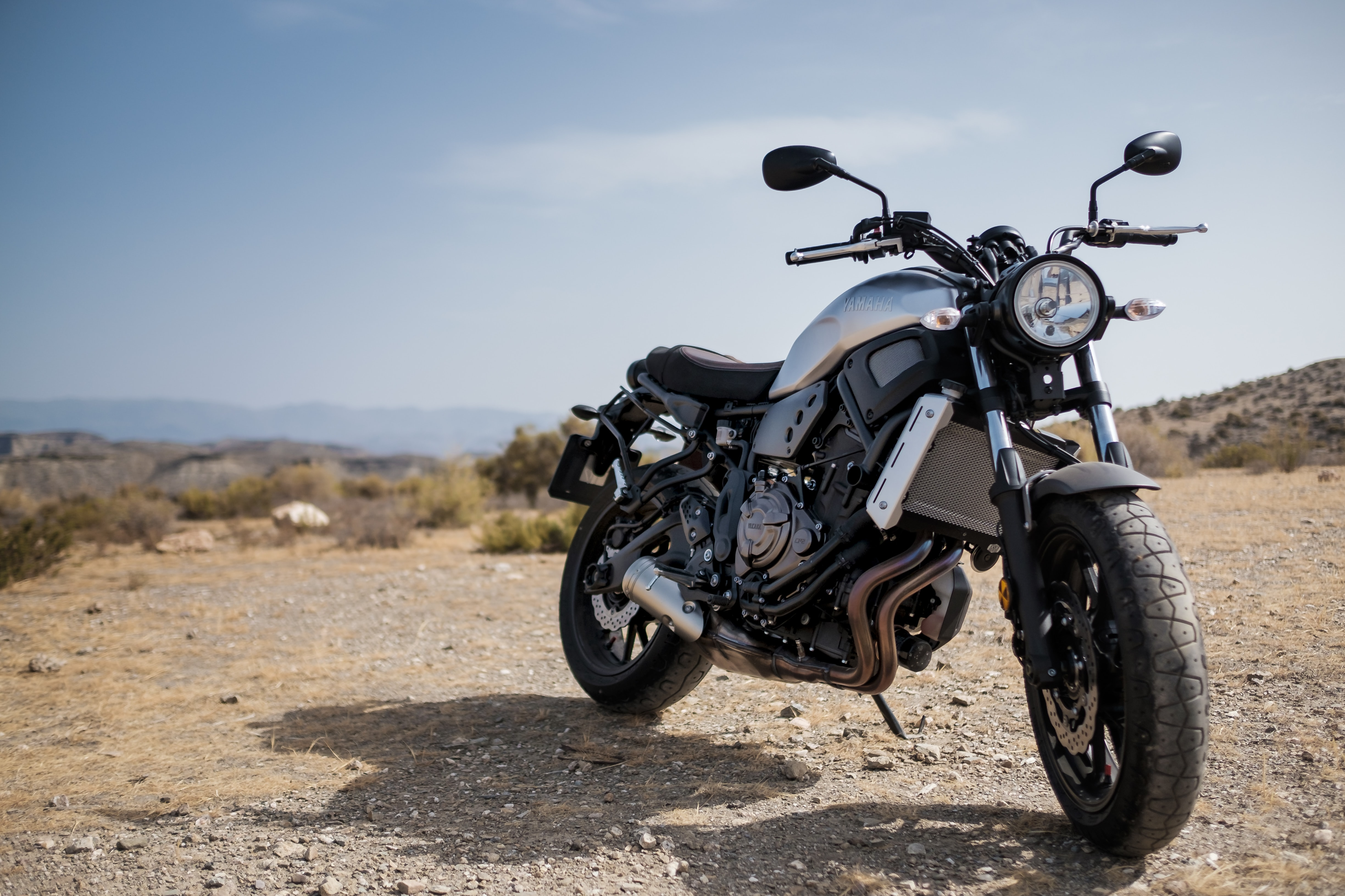 A motorcycle in the desert in Tabernas