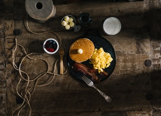 baked pancake and egg scramble on plate
