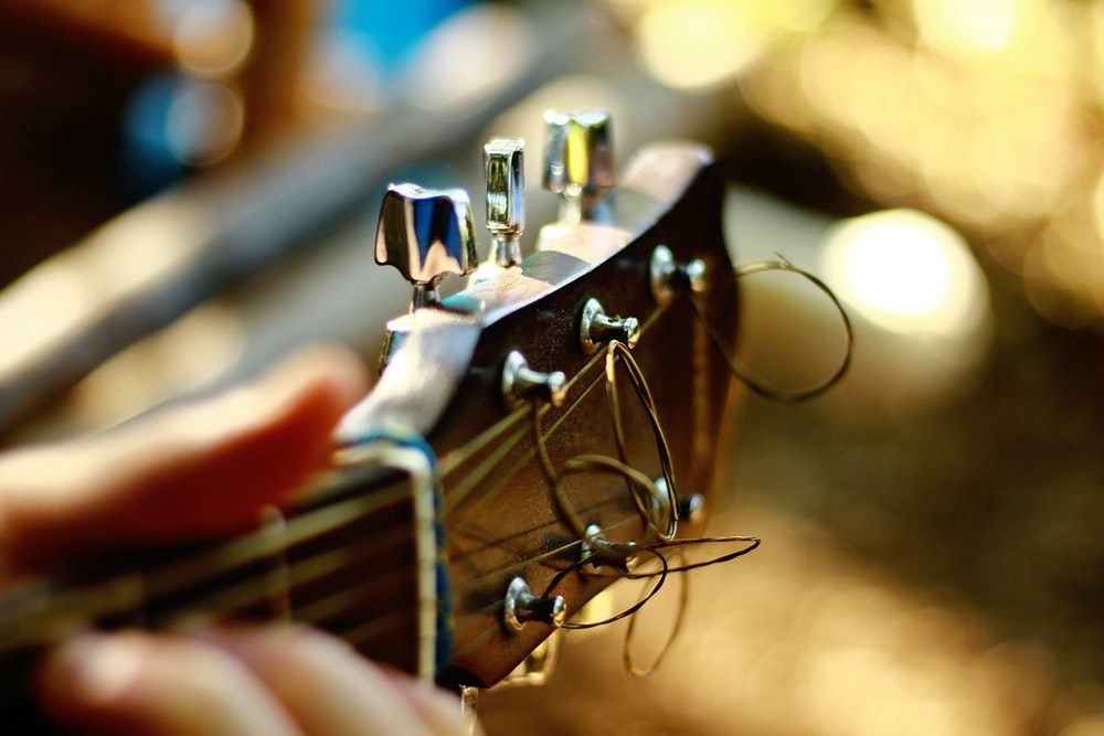 close-up photo of guitar headstock