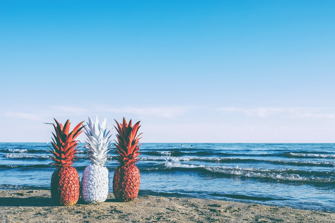 red and white pineapples on the beach - go Canada