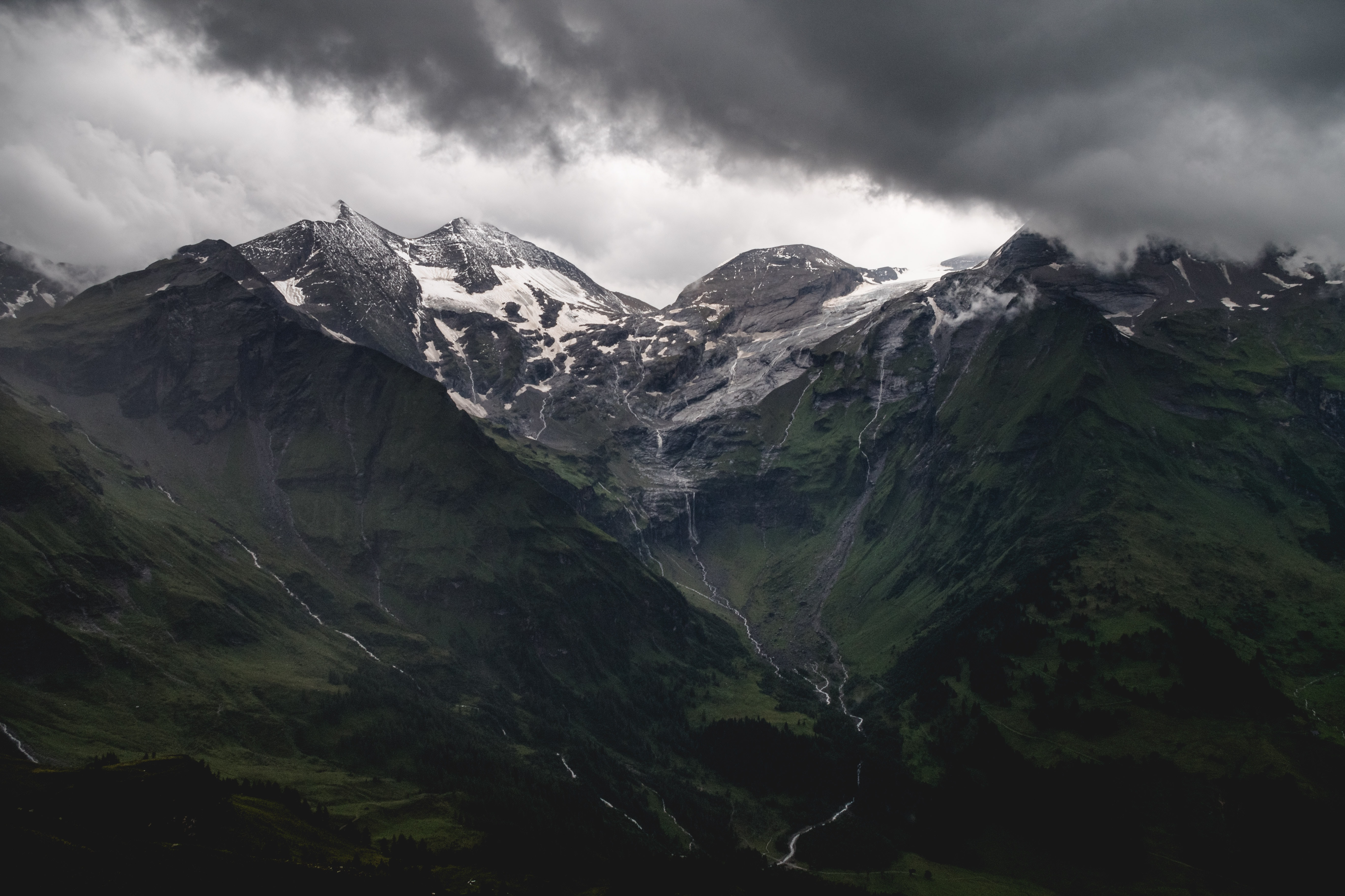 A snow-topped mountain massif near the Grossglockner High Alpine Road