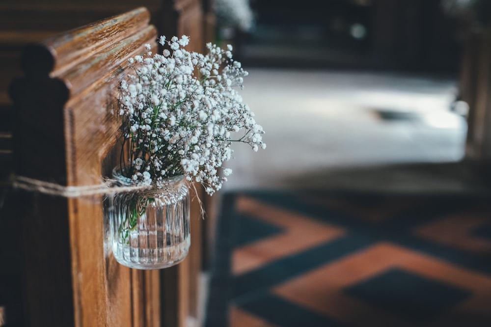 white petaled flower on glass vase