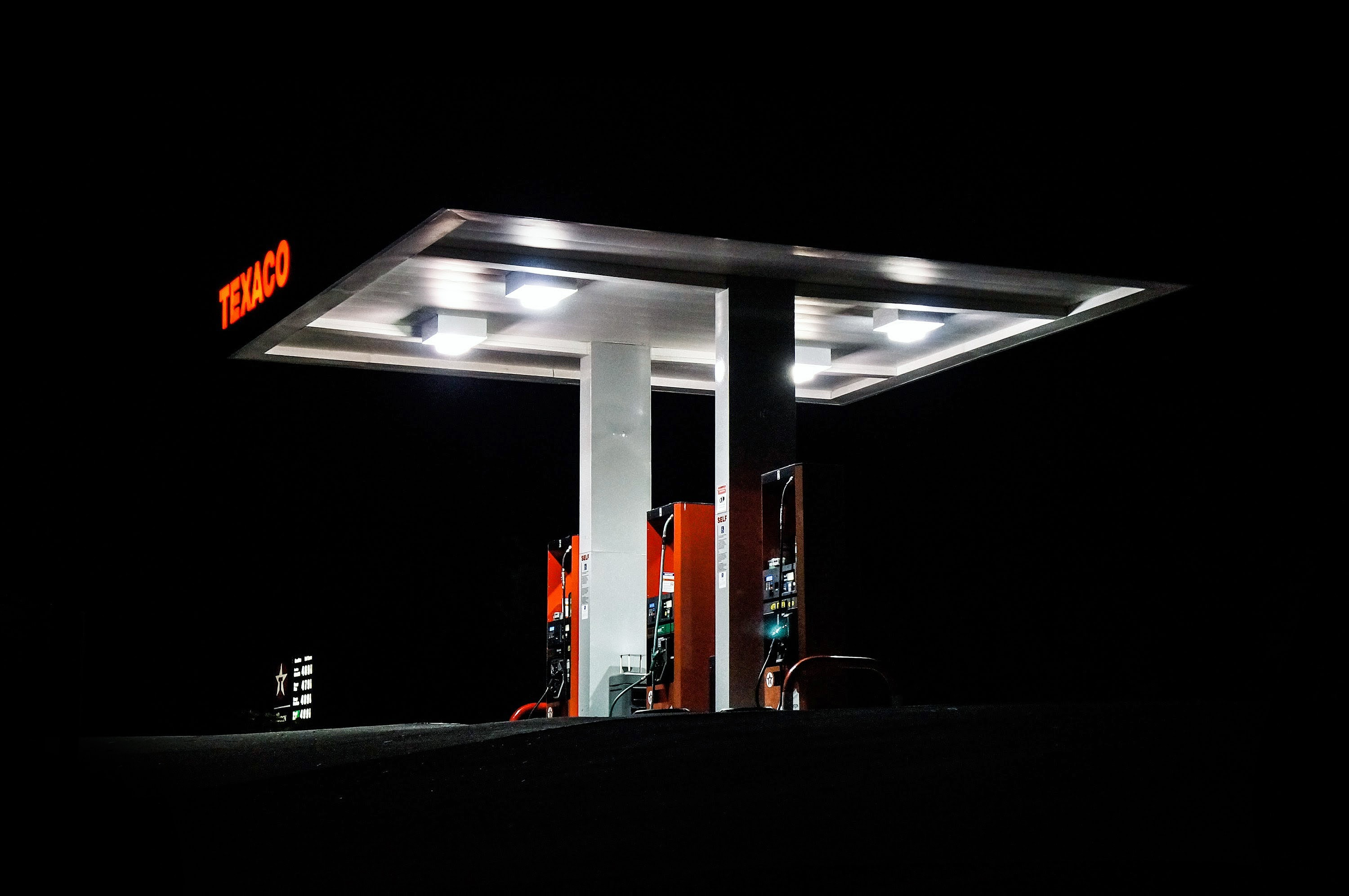 Texaco gas station at night