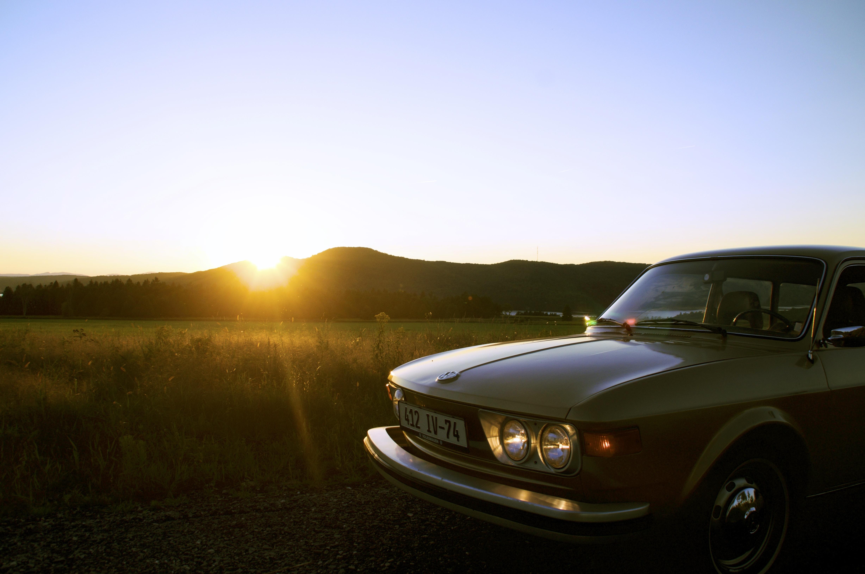 gray car during sunset