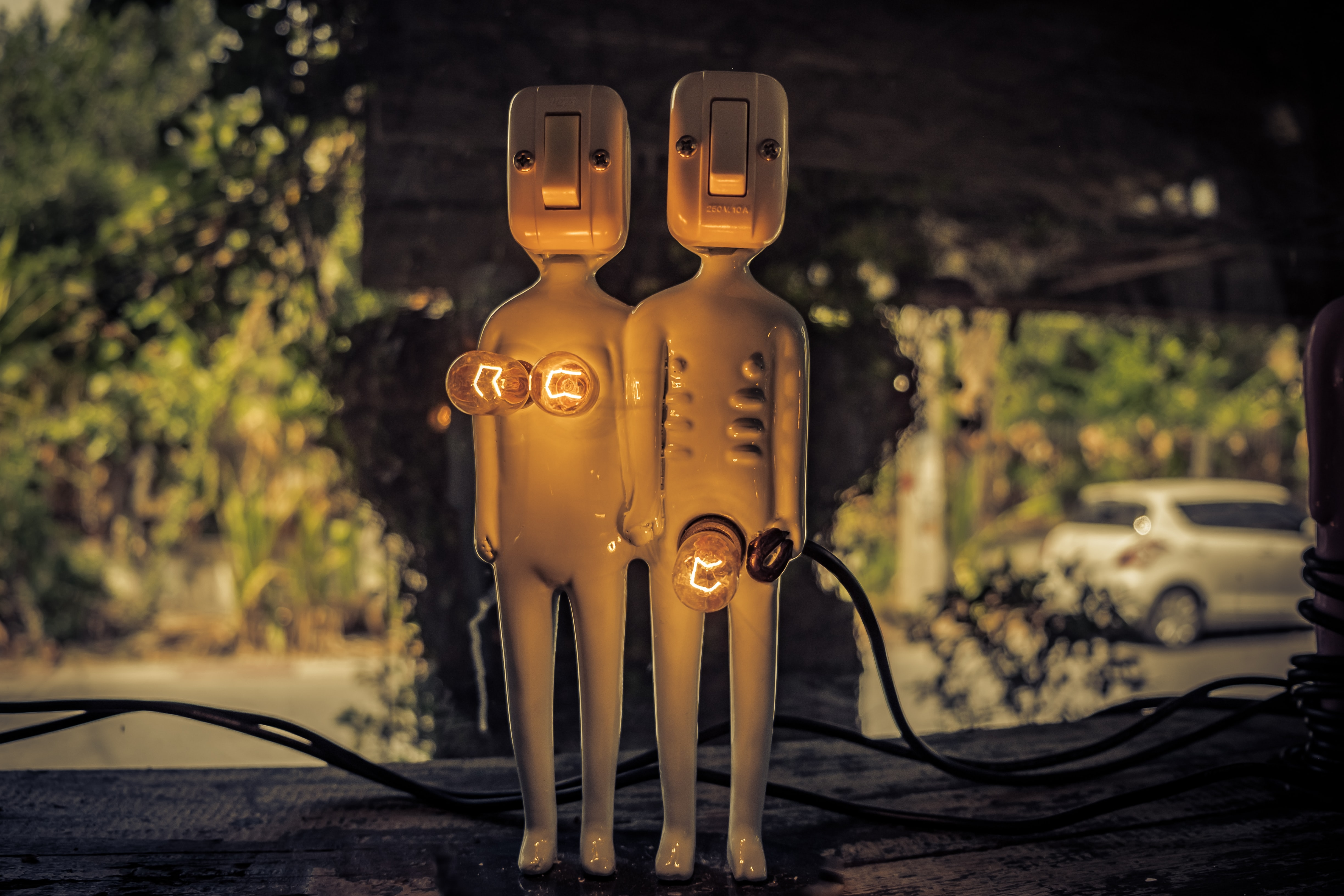 Funny sculpture of a male/female pair with electrical body parts