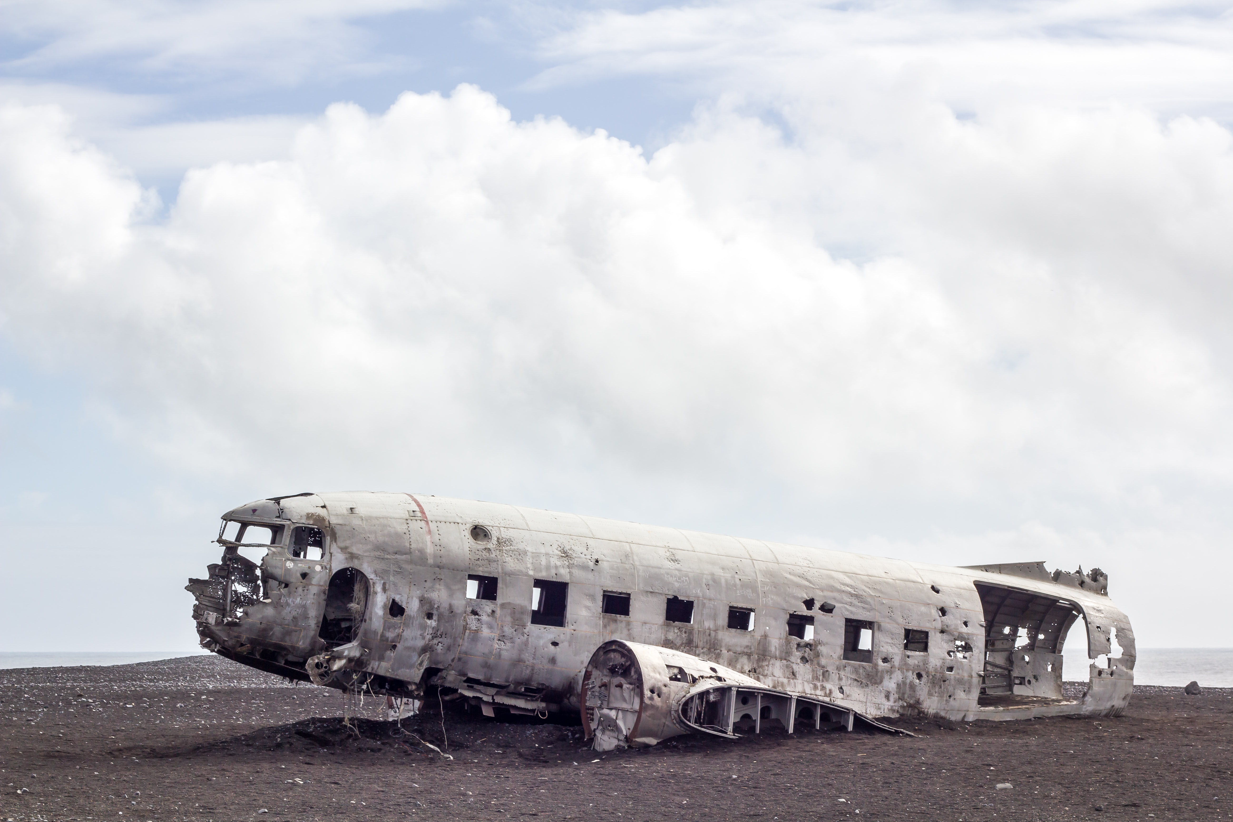 Abandoned airplane wreckage in the desert of Solheimasandur