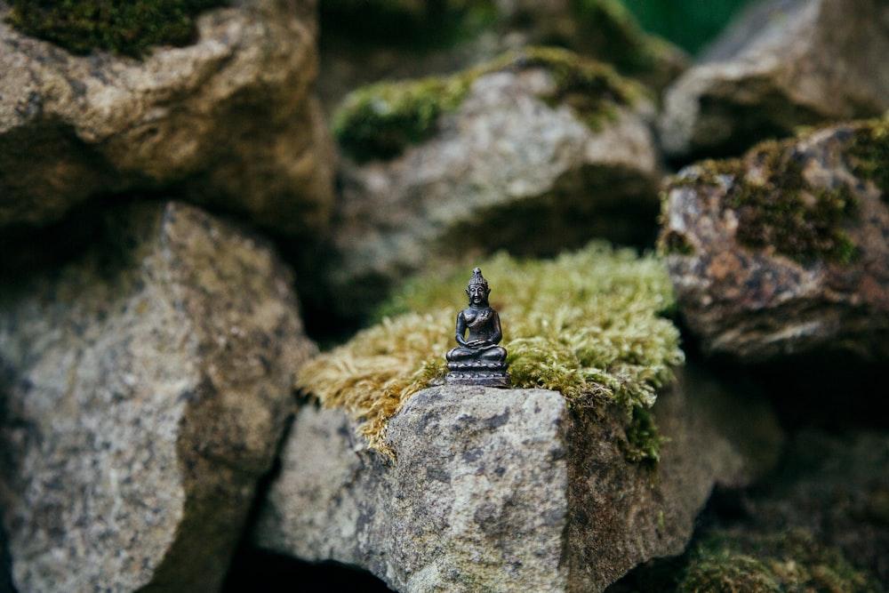 brown Buddha miniature on stone