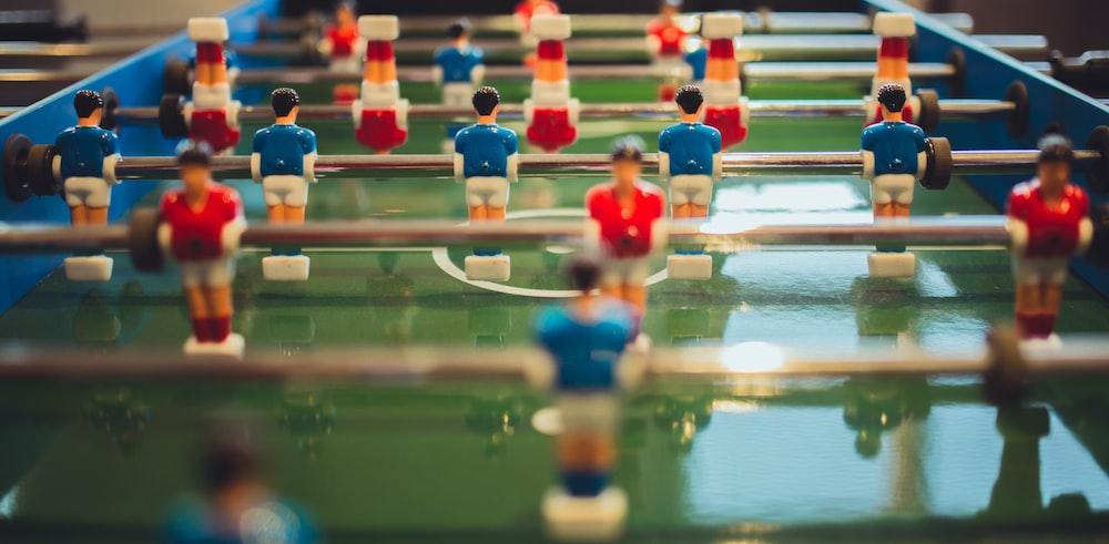red versus blue team foosball table