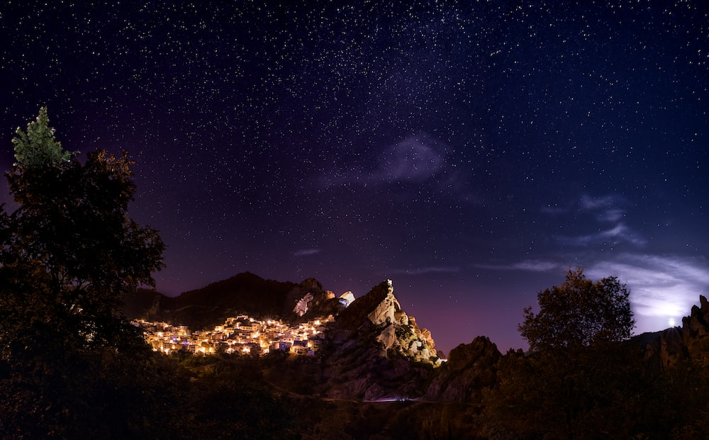 brown mountain during nighttime