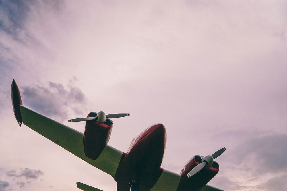 low-angle photograph of airplane