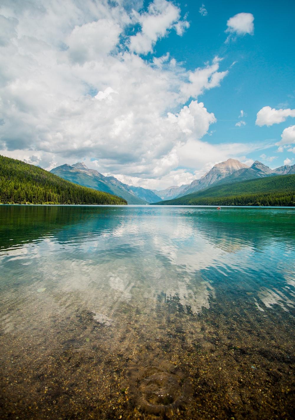 lake near green mountain