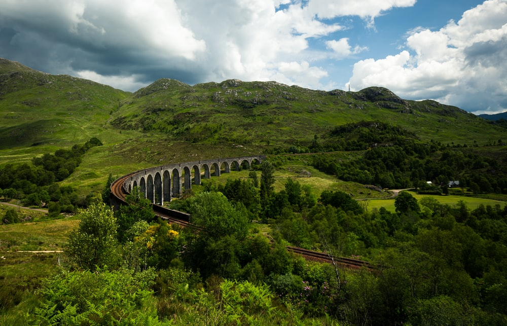 gray and brown train railway near green green moutain