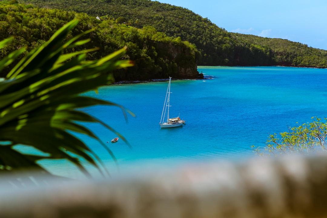 Yacht on blue lake