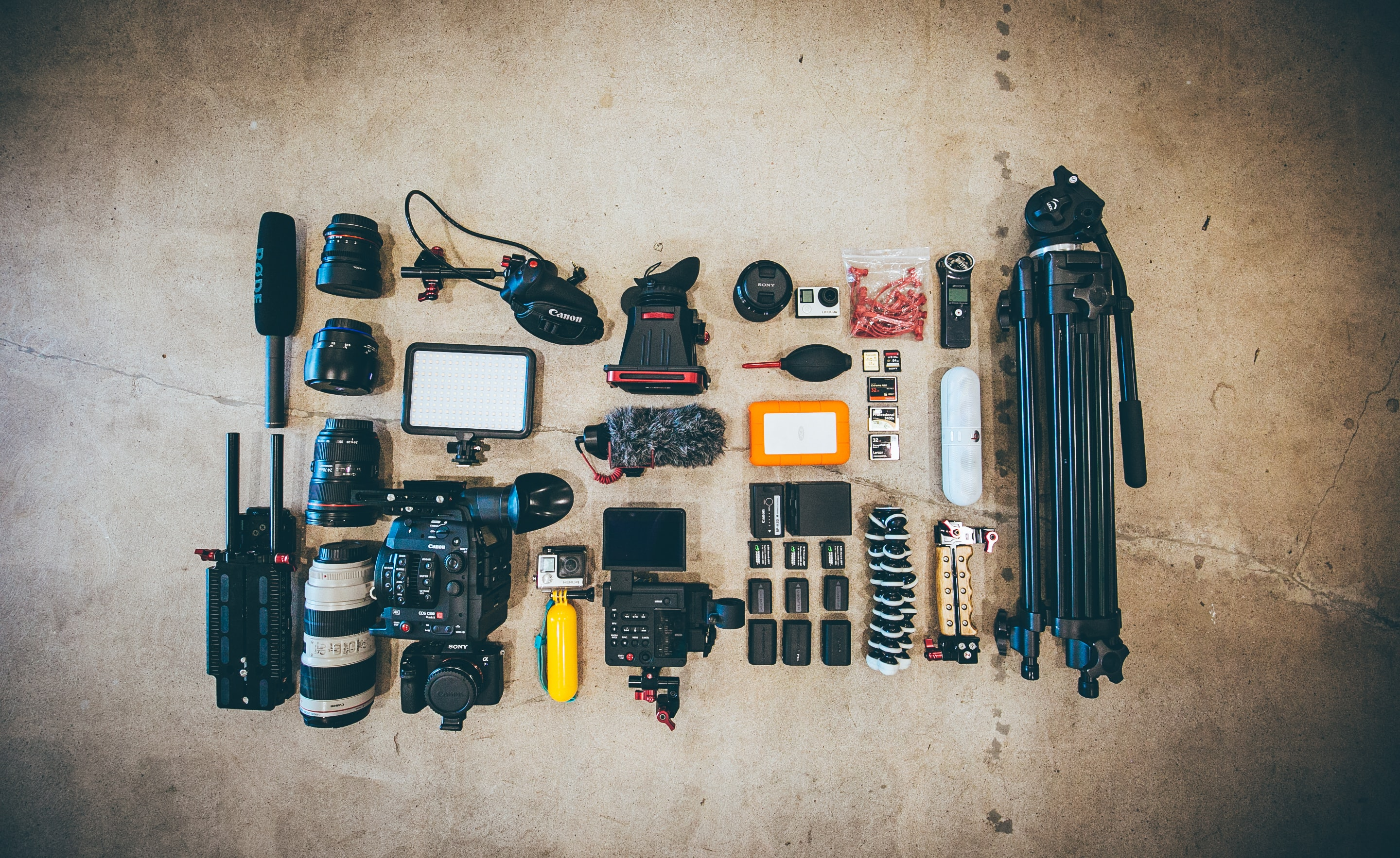 A flatlay with a large collection of video equipment