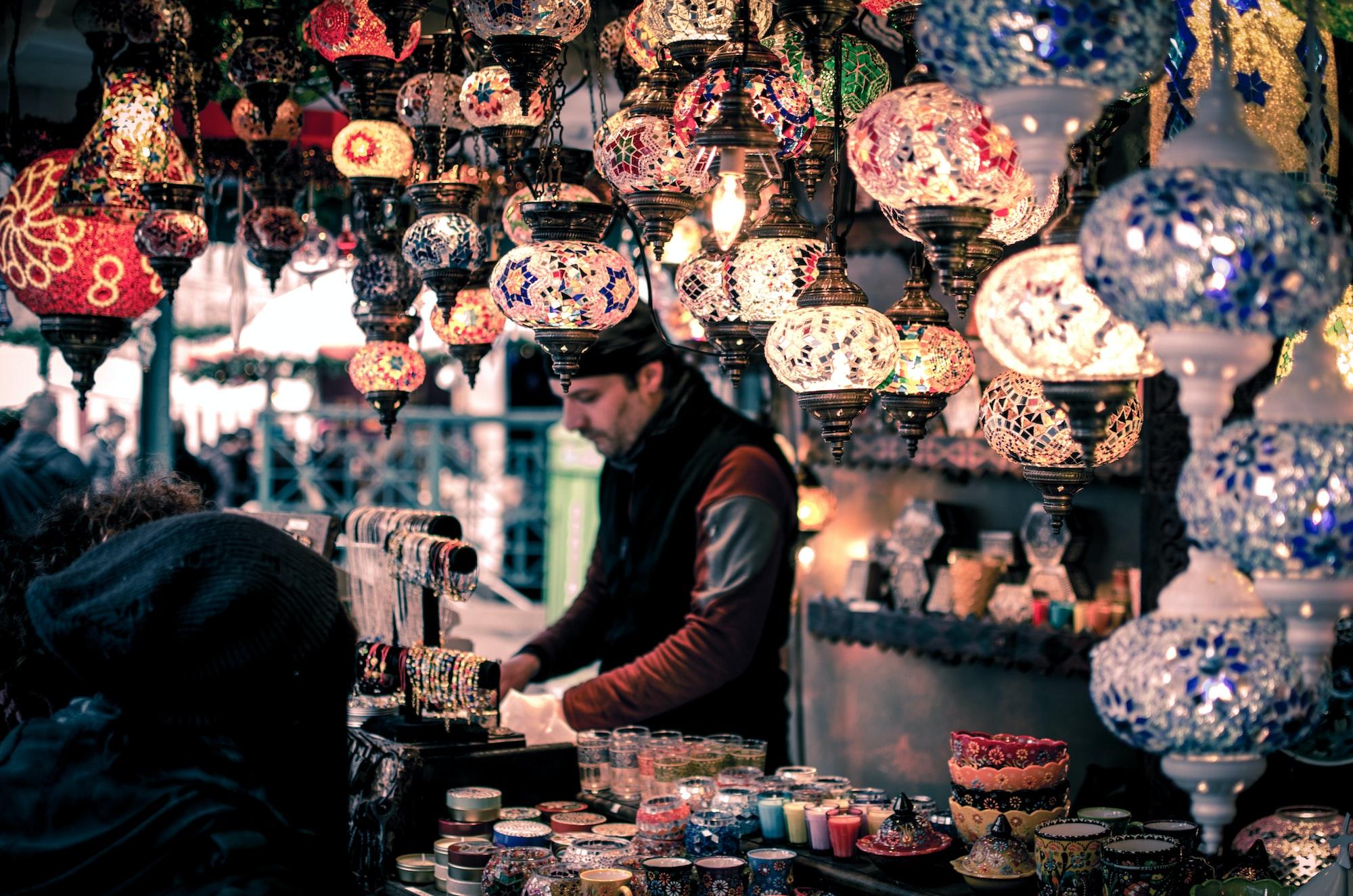 Lanterns at a bazaar