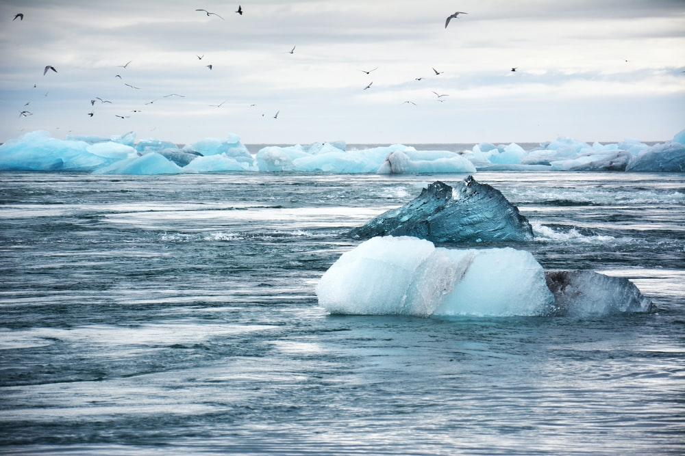 iceberg on water: sea level rise: climate action