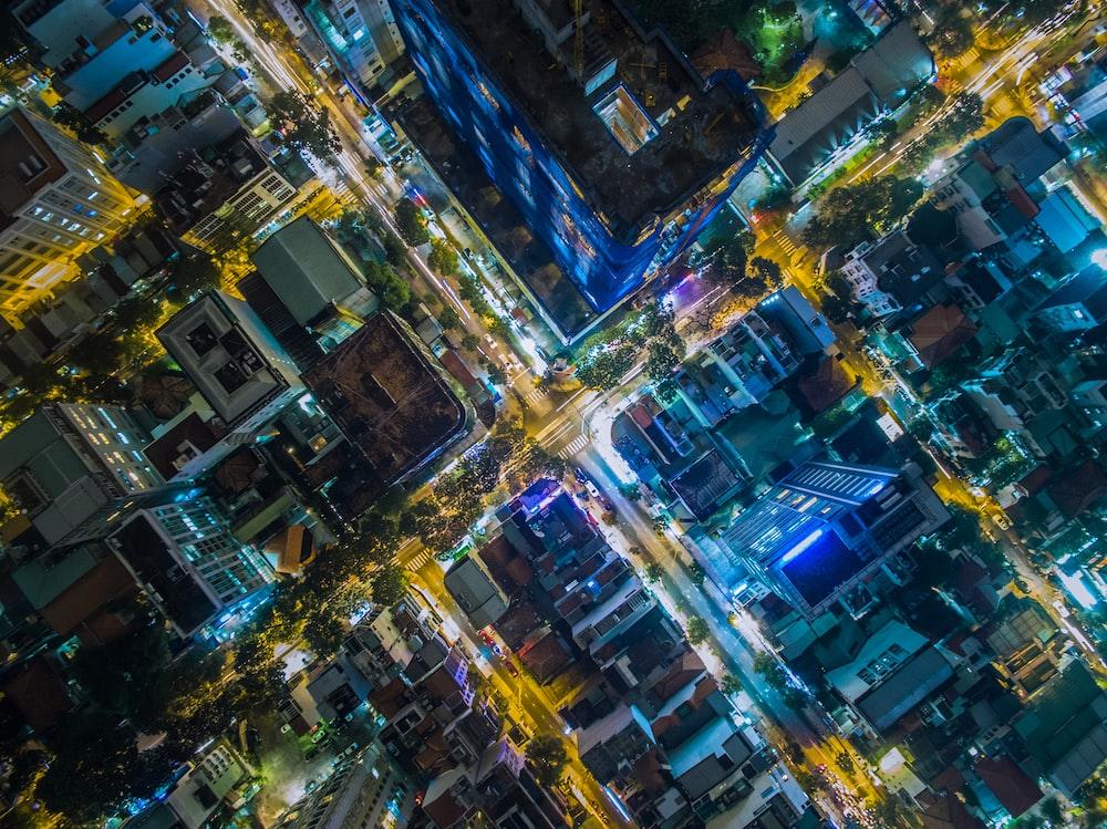 bird's eye photography of city