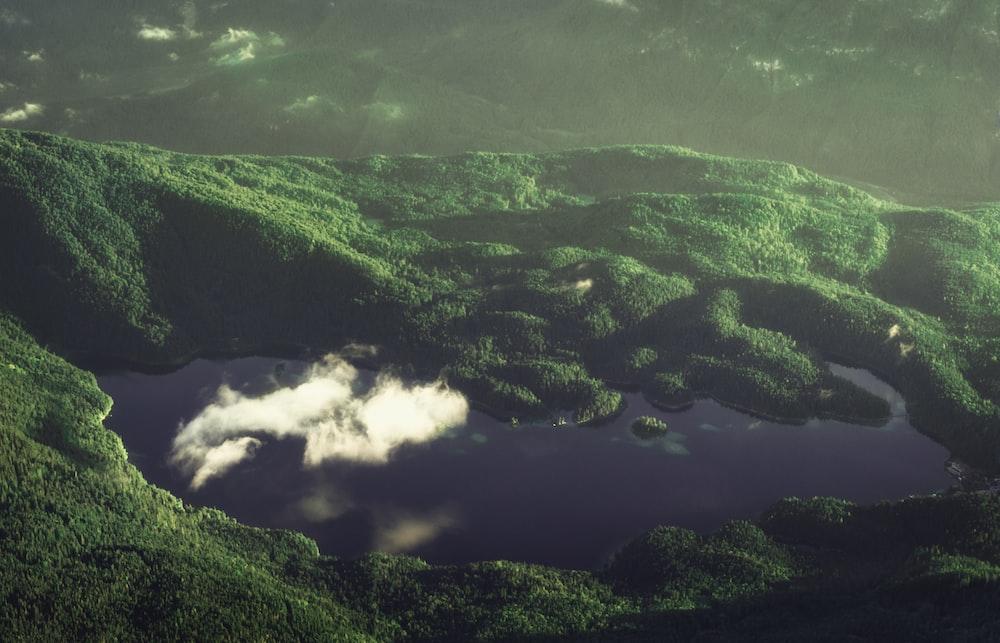 top view photo of lake