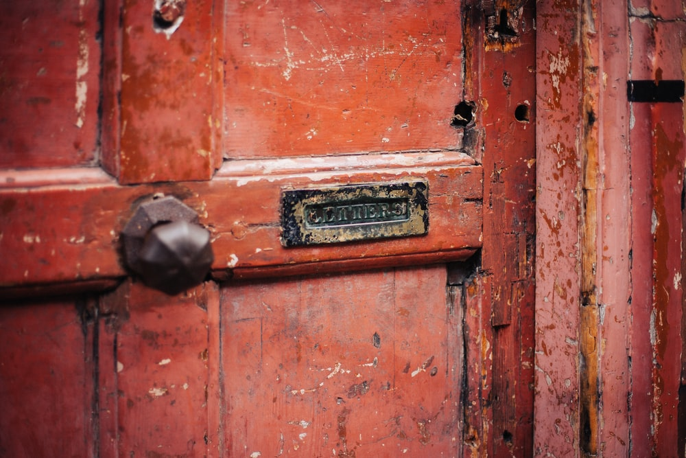 red wooden door